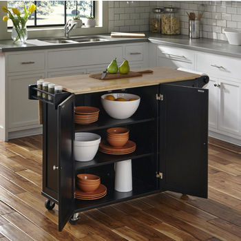 Black w/ Wood Top Open View - In Use