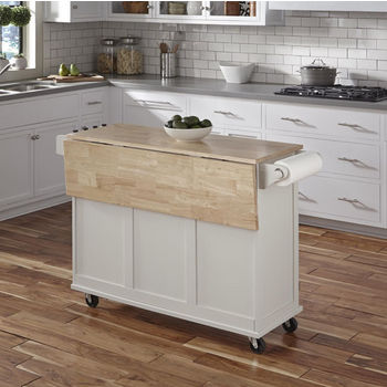 White w/ Wood Top In Use - Drop Leaf Down