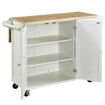 White w/ Wood Top Open View - Drop Leaf Down