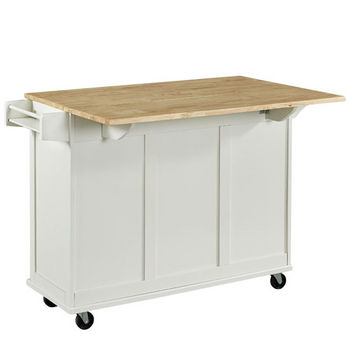White w/ Wood Top Back View - Drop Leaf Up