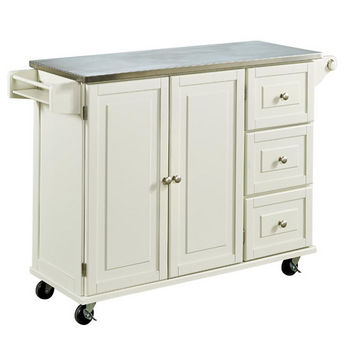 Liberty Wood Top Mobile Kitchen Cart w/ Wood or Stainless ...