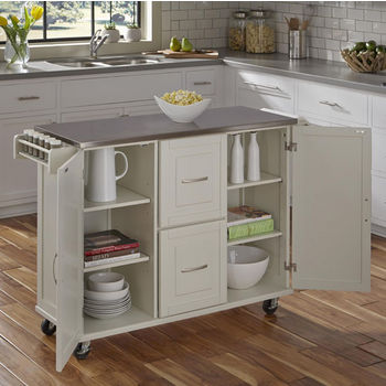 Dolly Madison by Home Styles Liberty Stainless Steel Top Kitchen Cart with Two Adjustable Shelves in each Cabinet Door, Three Storage Drawers, Towel Bar and Spice Rack