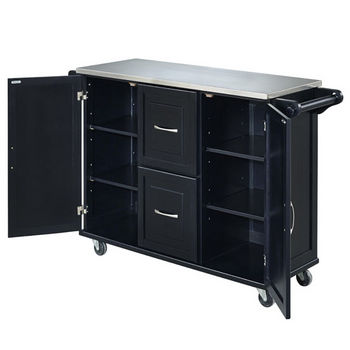 Dolly Madison by Home Styles Liberty Stainless Steel Top Kitchen Cart with Brushed Nickel Decorative Hardware and Two Locking Castors