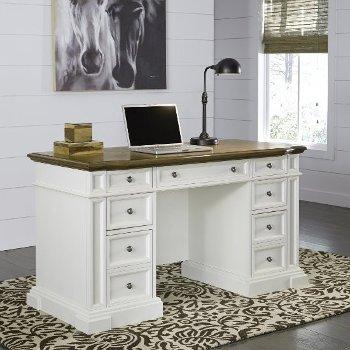 "Home Styles Americana White Pedestal Desk in White, 56"" W x 25"" D x 30-3/4"" H"