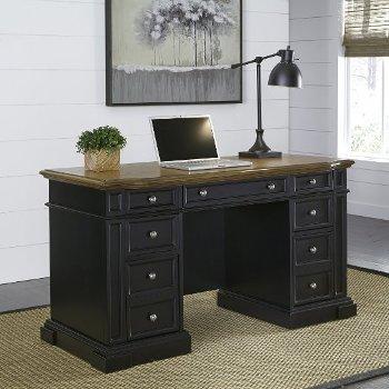 "Home Styles Americana Black Pedestal Desk in Black, 56"" W x 25"" D x 30-3/4"" H"
