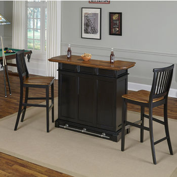 Bar with Stools in Black Finish, Rear View