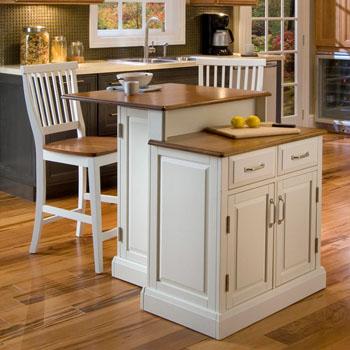 Home Styles Woodbridge Two Tier Island & Two Stools in White/Oak