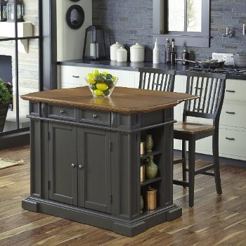 "Home Styles 48"" Wide Americana Kitchen Island with 2 Stools in Grey, 48"" W x 26"" D x 36"" H"