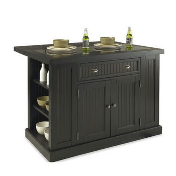 Home Styles Nantucket Kitchen Island & Stools with Black Granite Inlay
