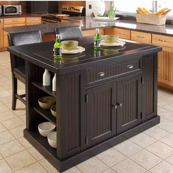 Home Styles Nantucket Kitchen Island with Black Granite Inlay