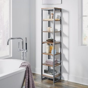 "Home Styles Barnside Metro Seven Tier Bath Shelf Tower, Driftwood, 13"" W x 11"" D x 60-1/4"" H"