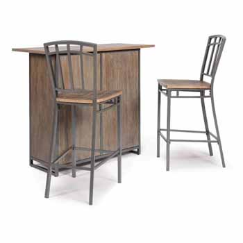 "Home Styles Barnside Metro Bar and Two Stools, Grey, Bar: 52""W x 21""D x 42""H, Stool: 18""W x 22-3/4""D x 46-3/4""H"