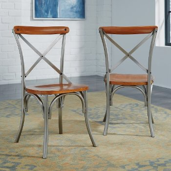 "Home Styles Orleans Pair of Side Chairs, Caramel, 18"" W x 18"" D x 35"" H"