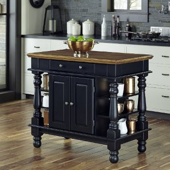 42-1/4\'\' Wide Americana Natural Kitchen Island in Black by ...