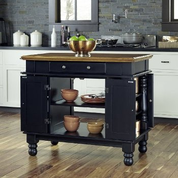 42 1 4 Wide Americana Natural Kitchen Island In Black By