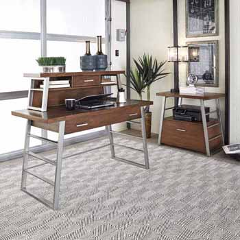 Home Styles Degree Home Office Desk, Hutch and File Cabinet, Modern Brown