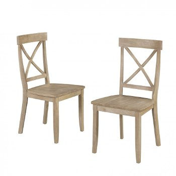 """Home Styles Classic Dining Set of X-Back Design Chairs in White Wash, 19-1/4"""" W x 21-3/4"""" D x 38-1/2"""" H"""
