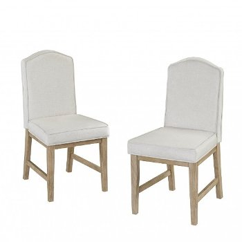 "Home Styles Classic Dining Set of Upholstered Chairs in White Wash, 18"" W x 22-3/4"" D x 37-1/4"" H"