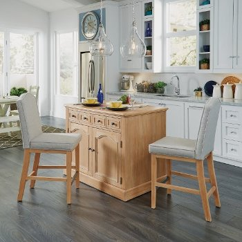 White Washed Kitchen Island w/ Wood Top & 2 Stools
