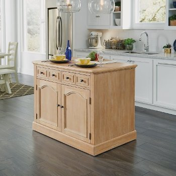 White Washed Kitchen Island w/ Wood Top