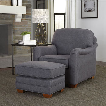 Magean Stationary Upholstered Chair with Charles of London Arm Style and Matching Ottoman