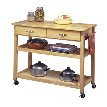 Home Styles Natural Finish Solid Wood Top Kitchen Cart