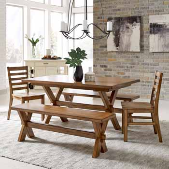 5-Piece Set - Table, Benches & Chairs