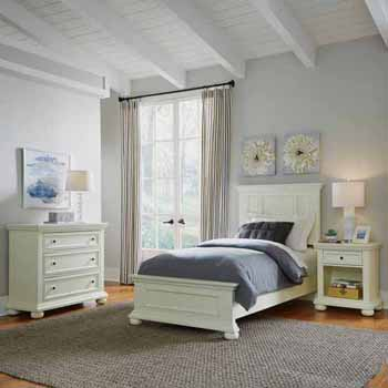 Home Styles Dover Twin Bed, Night Stand and Chest, White