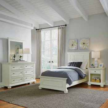 Home Styles Dover Twin Bed, Night Stand and Dresser with Mirror, White