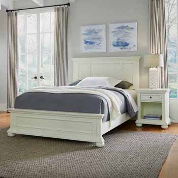 Home Styles Dover Queen Bed and Night Stand, White
