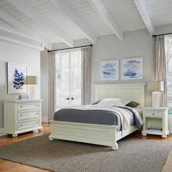Home Styles Dover Queen Bed, Night Stand, and Chest, White