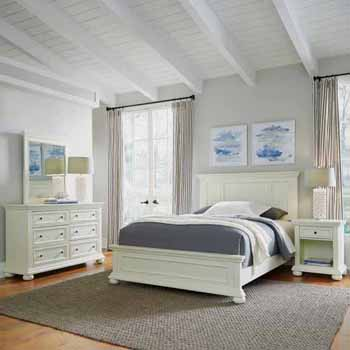 Home Styles Dover Queen Bed, Night Stand and Dresser with Mirror, White