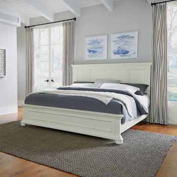 "Home Styles Dover King Bed, White 82-1/2""W x 89-1/4""D x 54""H"