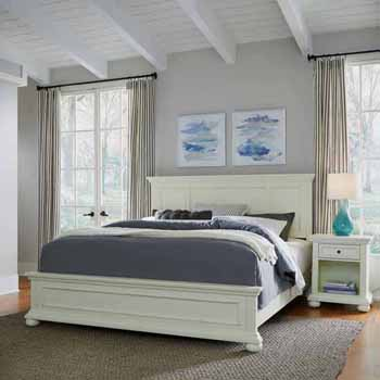 Home Styles Dover King Bed and Night Stand, White