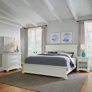 Home Styles Dover King Bed, Night Stand and Chest, White