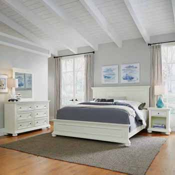 Home Styles Dover King Bed, Night Stand and Dresser with Mirror, White