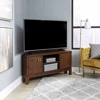 "Home Styles Bungalow Low Profile Corner Entertainment Stand, Medium Brown, 50""W x 22""D x 24""H"