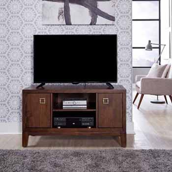 "Home Styles Bungalow Low Profile Entertainment Stand, Medium Brown, 44""W x 18""D x 24""H"