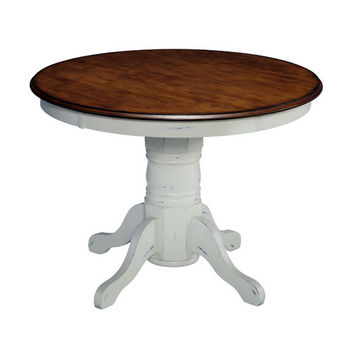"Home Styles #HS-5518-30, The French Countryside Oak and Rubbed White Pedestal Table, 42"" W x 42"" D x 30"" H"