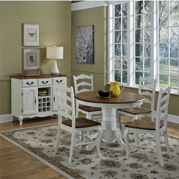 Home Styles #HS-5518-308, The French Countryside Oak and Rubbed White 5-Piece Dining Set