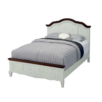 Home Styles The French Countryside Oak and Rubbed White Queen Bed, 66'' W x 89'' D x 58'' H