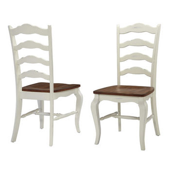 "Home Styles #HS-5518-802, The French Countryside Oak and Rubbed White Dining Chair, 18-3/4"" W x 21-1/2"" D x 40"" H, Per Pair"