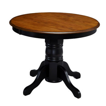 "Home Styles #HS-5519-30, The French Countryside Oak and Rubbed Black Pedestal Table, 42"" W x 42"" D x 30"" H"