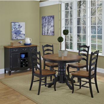 Home Styles #HS-5519-308, The French Countryside Oak and Rubbed Black 5-Piece Dining Set