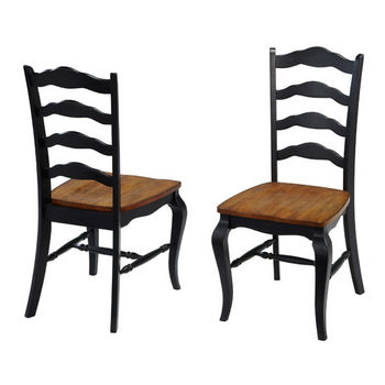 "Home Styles #HS-5519-802, The French Countryside Oak and Rubbed Black Dining Chair, 18-3/4"" W x 21-1/2"" D x 40"" H, Per Pair"