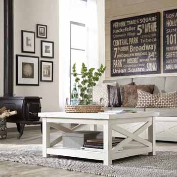 """Home Styles Seaside Lodge Coffee Table, White, 36""""W x 36""""D x 18""""H"""