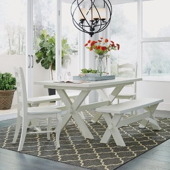 """Home Styles Seaside Lodge 5-Piece Dining Set, Includes Dining Table, (2) Dining Chairs and (2) Trestle Benches, White Painted, 60"""" W x 38"""" D x 30-1/4"""" H"""