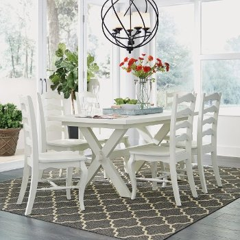 "Home Styles Seaside Lodge 7-Piece Dining Set, Includes Dining Table, (6) Dining Chairs, White Painted, 60"" W x 38"" D x 30-1/4"" H"