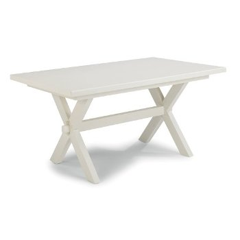 "Home Styles Seaside Lodge Dining Trestle Table, White Painted, 60"" W x 38"" D x 30-1/4"" H"
