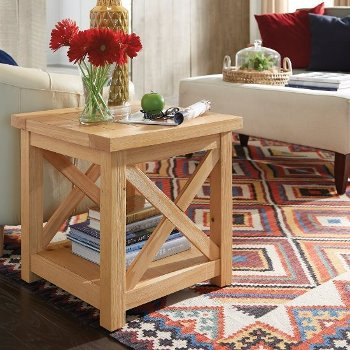"""Home Styles Country Lodge End Table in Pine, 22"""" W x 22"""" D x 22"""" H"""